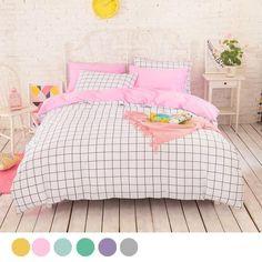 yellow grid bedding| $36.30 kawaii aesthetic pastel cute ...