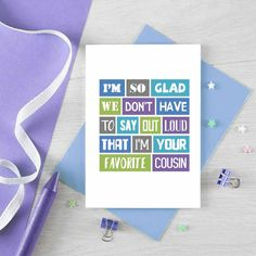 Funny Cousin Birthday Card For Cousin Cousin Birthday, Birthday Cards For Brother, Funny Birthday Cards, Diy Birthday, Card Birthday, Birthday Ideas, Bob Marley, Cute Gifts, Diy Gifts