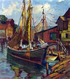 Fern I. Coppedge, Sailing Ships Gloucester Harbor Fine Art Reproduction Oil Painting