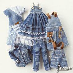 Leftover reuse jeans fabric for dolls clothes dress top skirt jacket Diy Barbie Clothes, Diy Clothes, Doll Dress Patterns, Clothing Patterns, Sewing Dolls, Barbie Dress, Crochet For Kids, Blythe Dolls, Girl Outfits