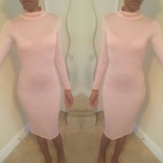 NWOT, Long sleeve turtleneck bodycon dress Cute tight fit dress, thin so it shows ur under garments but with the perfect nude color underneath it would be perfect. Never worn Dresses Midi