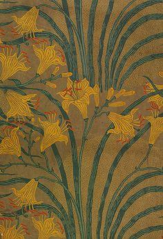 Day Lily wallpaper - design by Walter Crane, 1897 Walter Crane, Lily Wallpaper, Fabric Wallpaper, Pattern Wallpaper, Motifs Art Nouveau, Motif Art Deco, Papier Peint Art Nouveau, Textile Patterns, Textiles