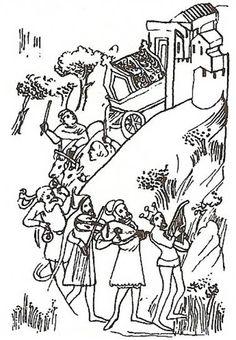 Pohřební průvod Karla IV ze středověké miniatury vBibli Václava IV., konec 14. století