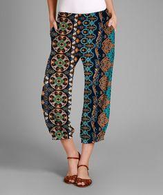 Another great find on #zulily! Blue & Green Arabesque Crop Pants - Plus #zulilyfinds