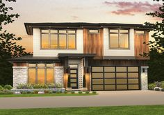 Prairie-Style House Plan with Tandem Garage - thumb - 01 Small Modern Cabin, Small Modern House Plans, Small Cottage House Plans, Modern Small House Design, Green House Design, Two Story House Plans, Cabin House Plans, Bungalow House Plans, Contemporary House Plans