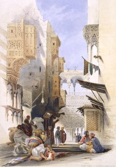 """Street Leading to El Azhar, Grand Cairo"", pub. 1846 Prints by A. Margaretta Burr  (Note the exaggerated Meshrabiyeh and the very elaborate bridge-like structure in the distance.)"