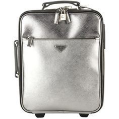 Prada Small Silver Leather Rolling Suitcase (1,430 NZD) ❤ liked on Polyvore featuring bags and luggage