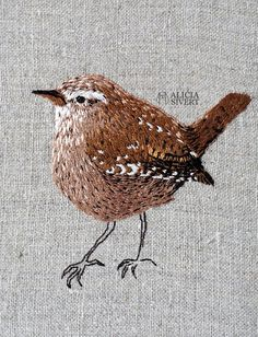 """Gärdsmyg"", wren embroidery by Alicia Sivertsson, 2016."