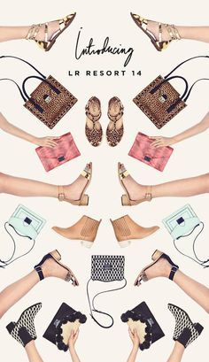 symmetrical layout for fashion items (lr resort newsletter design.  kaleidoscope/reflection/pattern)