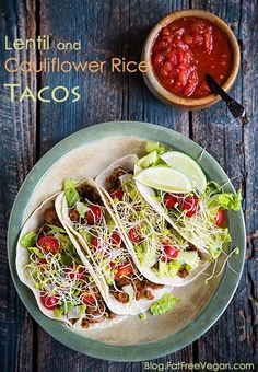 Heres one to save for Cinco de Mayo! Spicy, healthy Lentil and Cauliflower Rice Tacos.