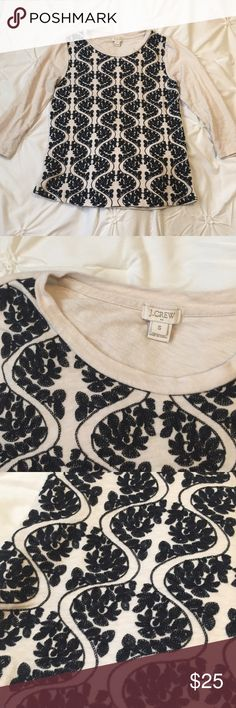 J. Crew Tan Black Embroidered Raglan Shirt JCrew Tan Black Embroidered Raglan Top side small ---- 🚭 All items are from a non-smoking home. 👆🏻Item is as described, feel free to ask questions. 📦 I am a fast shipper with excellent ratings. 👗I love bundles & bundle discounts. Feel free to make an offer! 😍 Like this item? Check out the rest of my closet! 💖 Thanks for looking! J. Crew Tops