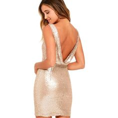 Lulus  Shine Time Rose Gold Sequin Dress ($64) ❤ liked on Polyvore featuring dresses, gold, sequin bodycon dress, red bodycon dress, rose gold sequin dresses, red body con dress and sexy sequin dresses