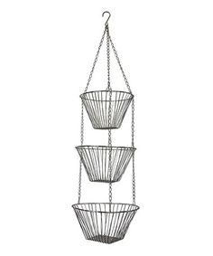 Another great find on #zulily! Silver Hanging Tiered Wire Basket #zulilyfinds