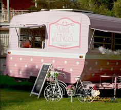 Adorable pink and white camper - Sweet Jane's Travelling Teahouse