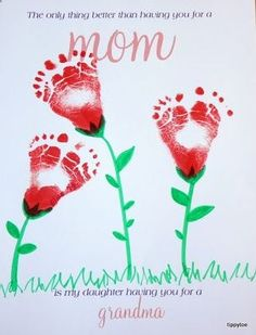 Footprint flowers or roses for valentines day art, perfect gift for parents and grandparents