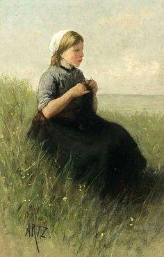 Awaiting Father's Return On Scheveningen Beach - David Adolf Constant Artz (1837 - 1890, Dutch)