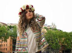 @MarieandMood - Blog mode Lyon : Veste brodée et couronne de fleurs