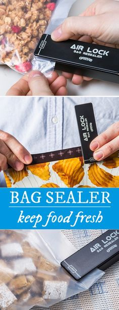 Use heat to seal the deal. This straightforward heat food sealer creates an airtight, water-resistant environment for your food in seconds. This means no clamps, clips and rubber bands . . . and, better yet, no AAA batteries since Air Lock is rechargeable via USB.