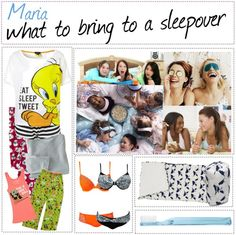 """""""what to bring to a sleepover"""" by tipsters-and-we-know-it ❤ liked on Polyvore"""