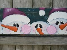 Wood Sign Think Pink with Adorable Snowmen. $80.00, via Etsy.
