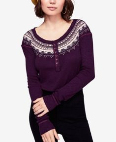 Free People Fair Isle Embroidered Thermal Henley - Purple S Women's Henley, Thermal Henley, Free People, Scoop Neck, Purple, Long Sleeve, Sleeves, Sweaters, Shopping