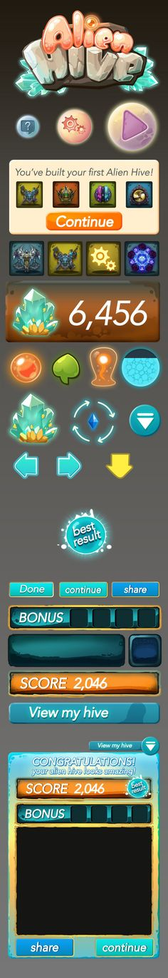 Some mobile game UI design Game Ui Design, Web Design, Graphic Design, Gui Interface, User Interface Design, Game Gui, Game Icon, Aliens, Game Props