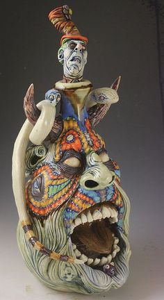 'Pandora's Clown' A Southern Surreal Folk Art Face Jug Sculpture by Ron Dahline | eBay