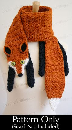 Digital PDF Crochet Pattern for Fox Scarf - DIY Fashion Tutorial - Instant Download