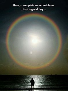 Rare look at a full circle rainbow. The height of the sun when the rainbow appears determines how much of the circle can be seen; as the sun approaches the horizon, more of the circle comes into view, whereas the higher the sun is in the sky, the smaller the arch of the rainbow becomes