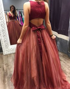 two piece long prom dress, 2018 burgundy prom dress, elegant v neck two piece burgundy long prom dress ball gown Open Back Evening Gown, Pink Evening Gowns, Burgundy Evening Dress, Prom Dresses 2018, Tulle Prom Dress, Formal Dresses, Party Dress, Gown Dress, Dresses Uk