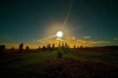 Callanish standing stones with sun & stars, Isle of Lewis, Outer Hebrides, #Scotland. Etherial photo by Chris Murray