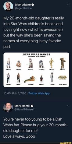 Not really a meme. But this was very wholesome. We dont deserve Mark Hamill Funny Videos, Funny Memes, Memes Humor, 9gag Funny, Star Wars Padme, Star Trek, Star Wars Poster, Clone Wars, Jedi Training