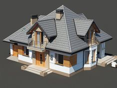 Projekt domu Śnieżka N 129,49 m2 - koszt budowy 220 tys. zł - EXTRADOM Modern Exterior House Designs, Dream House Exterior, Dream House Plans, Popsicle House, Morden House, House Design Pictures, Stucco Homes, Home Fashion, Home Deco