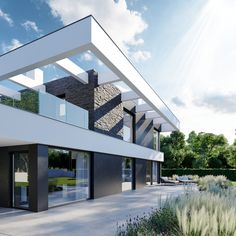 DOM.PL™ - Projekt domu CPT HomeKONCEPT-37 CE - DOM CP1-42 - gotowy koszt budowy Modern Family House, Modern House Plans, 2 Storey House Design, Design Your Dream House, Modern Mansion, Home Fashion, Garden Design, Pergola, Mansions