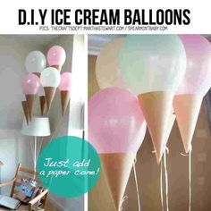 DIY ice cream cone balloons - just add paper cones. So simple. Diy Ice Cream, Ice Cream Party, Ice Cream Theme, Glace Diy, Ice Cream Balloons, Lace Balloons, Helium Balloons, Deco Ballon, Ballon Diy