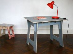 Michael Marriott. Work table. Slotted plywood kids work tables. Zip-tie assembly / no tools required.