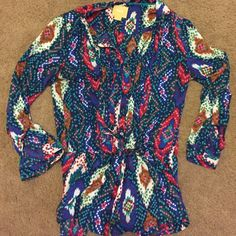 Anthropologie blouse Maeve Button down, has waist you can tie, super cute 3/4 length sleeves, some slight pulling shown in last pic, 100% rayon Anthropologie Tops