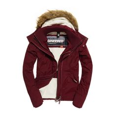 Superdry Hooded Fur Sherpa Wind Attacker Jacket ($120) ❤ liked on Polyvore  featuring outerwear