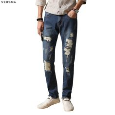 28.35$  Watch here - http://ali99y.shopchina.info/go.php?t=32808259610 - VERSMA Skinny Distressed Ripped Jeans Men Patch Stretch Denim Overalls Korean Men Jeans Male Destroyed Rip Jumpsuit Jogger Jeans  #magazineonlinebeautiful