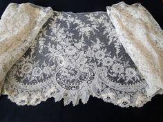 Maria Niforos - Fine Antique Lace, Linens & Textiles : Antique Lace # LA-302 Circa 1860, Fine Brussels Point De Gaze Lace