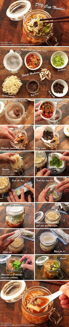Your Own Just-Add-Hot-Water Instant Noodles (and Make Your Coworkers Jealous) Healthy Homemade Instant Noodle Soup recipesHealthy Homemade Instant Noodle Soup recipes Noodle Recipes, Soup Recipes, Cooking Recipes, Mason Jar Meals, Meals In A Jar, Asian Recipes, Healthy Recipes, Cuisine Diverse, Good Food