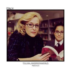 Gillian Anderson in the Library