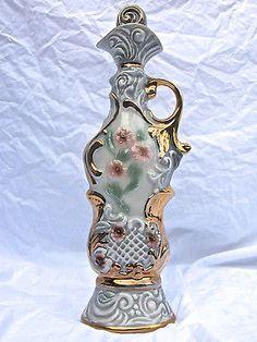 JIM BEAM REGAL CHINA Hollywood Regency Whiskey Decanter Floral Liquor Bottle