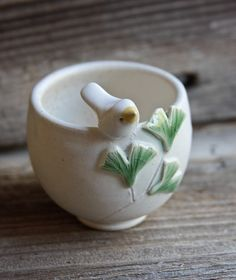 Little White Bird with Ginkgo Leaves on a White Bowl by Tasha McKelvey