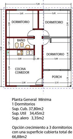 Vivienda ampliable de 1 dormitorio 39m2 planificada para luego expandir a 3 dormitorios. Construcción en seco. Calidad para todo el país.