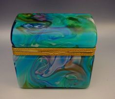 Fabulous Murano Turquoise Swirl Dome Top Hinged Box from worldrarities on Ruby Lane