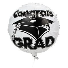 "White ""Congrats Grad"" Mylar Balloons - OrientalTrading.com"