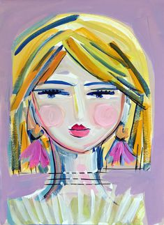 Painting whimsical art blu painting of girl, painting for kids, paintin Abstract Faces, Abstract Portrait, Portrait Art, Portraits, Art Inspo, Kunst Inspo, Kunstjournal Inspiration, Art Journal Inspiration, Art And Illustration