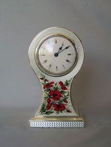 Edwardian Silver and Enamel Balloon Mantle Clock. Birmingham 1905. VERY PRETTY <3 @
