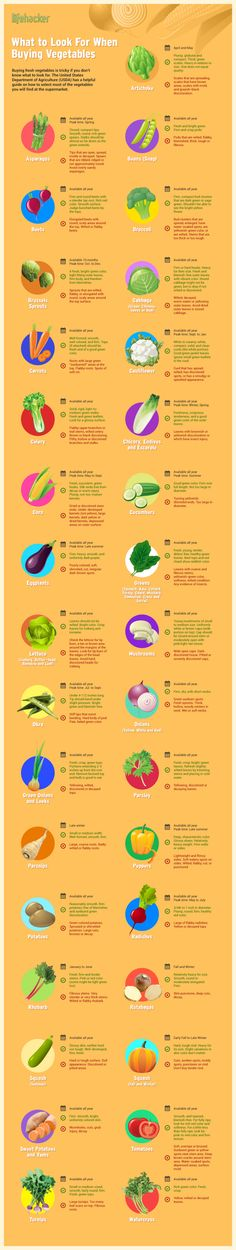 What to look for when buying vegetables! A helpful guide to select most of the vegetables you will find at your supermarket.